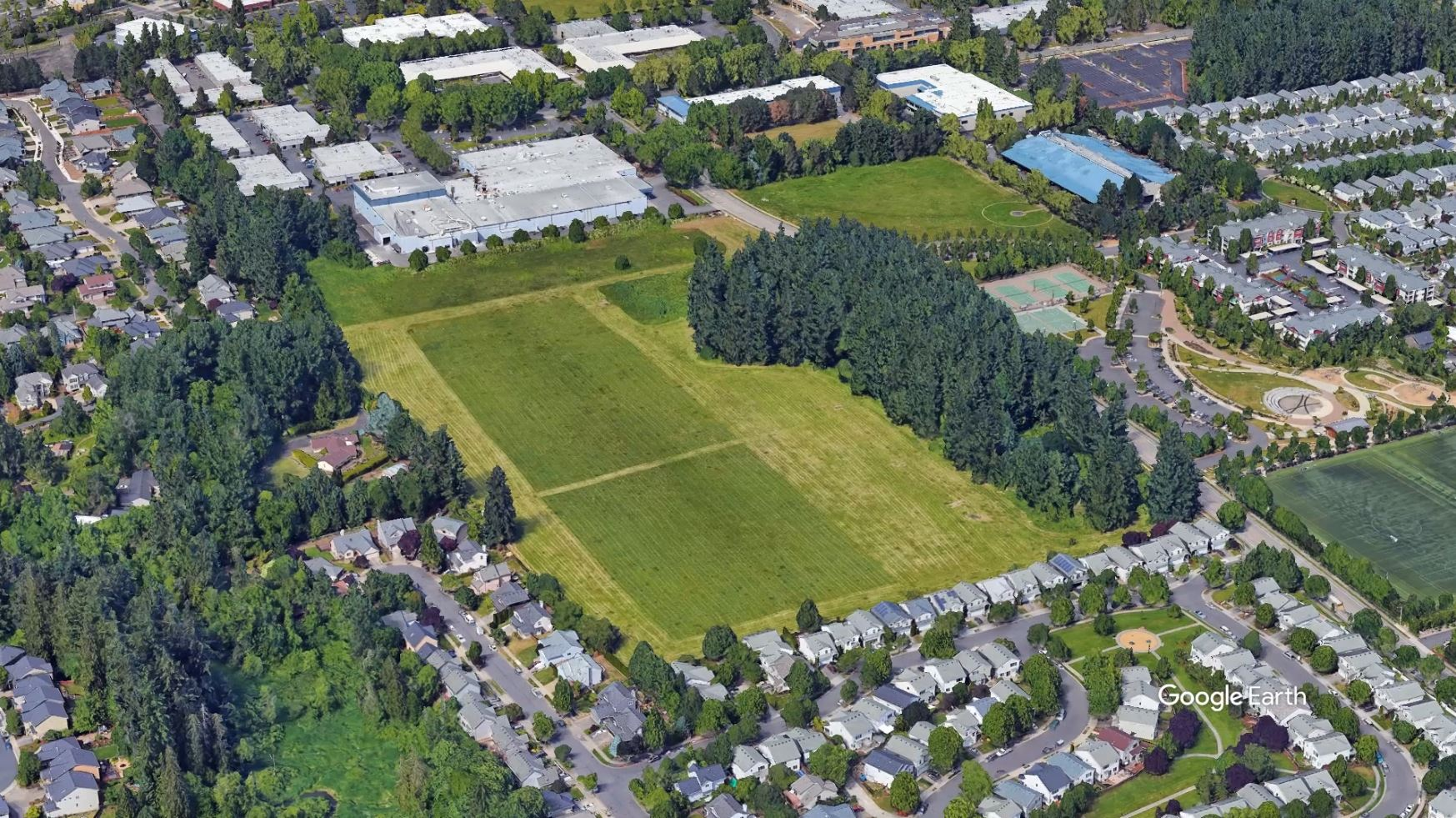 aerial view of the park site